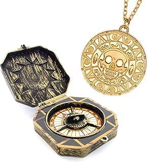 papapanda Pirata Jack Sparrow Brújula Collar Azteca Oro