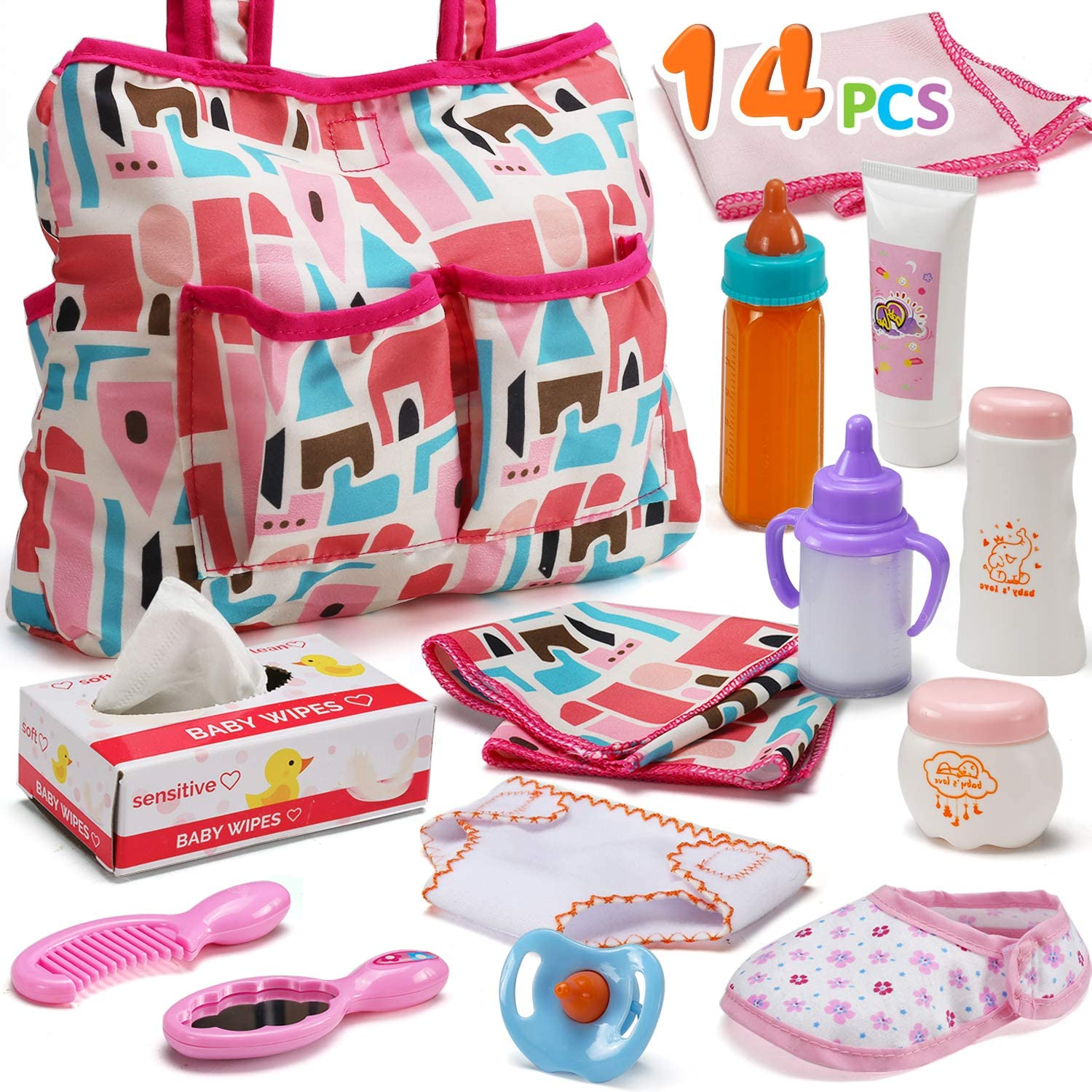 14 Pack Baby Doll Accessories Max 74% OFF Caring Set and Genuine Feeding