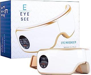 چشم ماساژور چشم با گرما - تسکین میگرن و تسکین استرس! - فشرده سازی هوا ، لرزش و موسیقی آرامش بخش شامل همه | باند الاستیک قابل تنظیم - عالی برای بعد از کار!