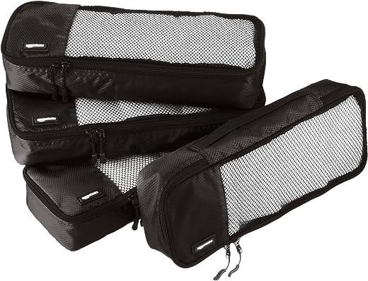 AmazonBasics Packing Cubes/Travel Pouch/Travel Organizer - Slim, Black (4-Piece Set)