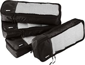 AmazonBasics 4 Piece Packing Travel Organizer Cubes Set - Slim, Black