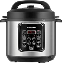 Chefman 6 Quart Electric Multi Makes Meals in Minutes 9-in-1 Programmable Pressure, Slow, Rice-Cooker, Food Steamer, Sauté, Yogurt, Soup/Broth Maker, 14 Presets, Stainless Steel