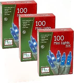 Holiday Wonderland Christmas Light Set, Blue, 100 Mini Lights (Pack of 3)