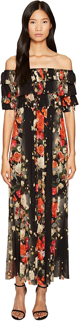 FUZZI - Off the Shoulder Long Flower Print Dress