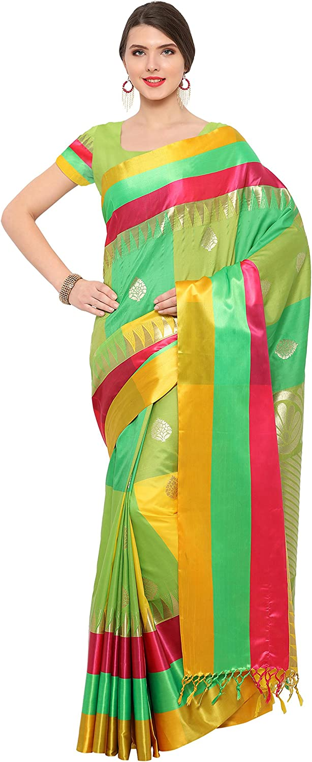 Aarah Women's Heavy Work Ethnic Wedding And Party Wear Best color Pure Blended Silk Sari