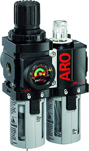 "Ingersoll Rand ARO C38121-600-VS Air Filter-Regulator-Lubricator Combination, 1/4"" NPT,Black/Gray"