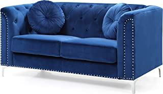 Glory Furniture Pompano Love Seat, Navy Blue. Living Room Furniture, 31