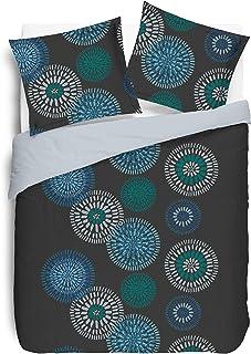 Vision Inès Bettwäschegarnitur mit 2 passenden Kissenbezügen, Baumwolle, Grau, Baumwolle, grau, 240 x 220 cm