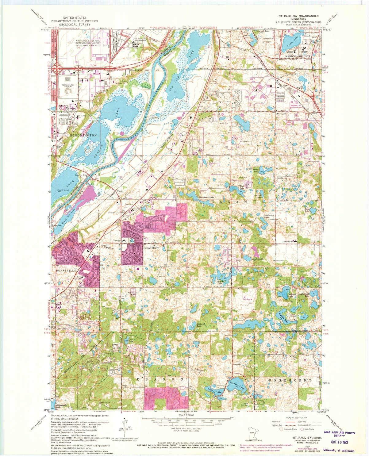 YellowMaps shipfree St Paul SW MN topo Scale 7.5 X Minu map unisex 1:24000