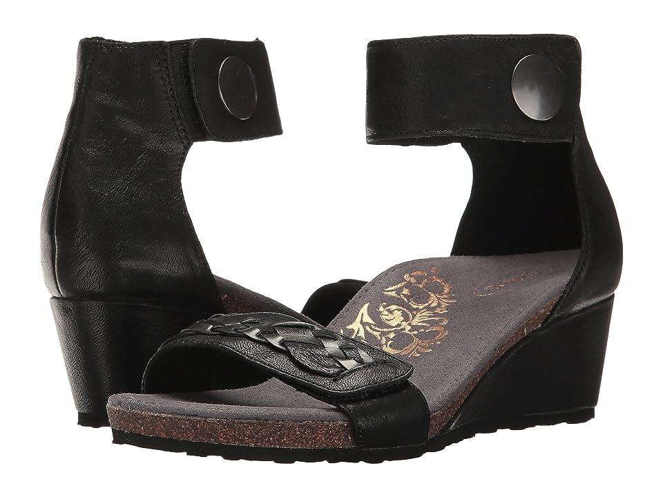 Aetrex Becca Ankle Strap Wedge (Black) Women