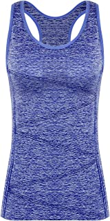 DISBEST Yoga Tank Tops for Women, Stretchy Sleeveless Shirt Workout Running Tops with Removable Bra Pads