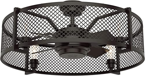 """Hunter Fenec Indoor Ceiling Fan with LED Light and Remote Control, 23"""", Noble Bronze"""