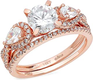 1.80 CT Round Pear Cut CZ Pave Halo Designer Solitaire Ring Band Set 14k Rose Gold