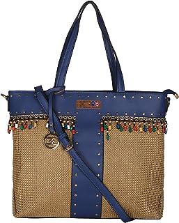 ESBEDA Blue Color BIG Size Jute Tote Bag For Women