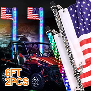 CTWHAUTO 2ft Dancing LED Whip Lights With Brake Light Turn Signal Controlled by Remote and App for ATV UTV RZR Off Road Polaris Trucks Dunes 2pc