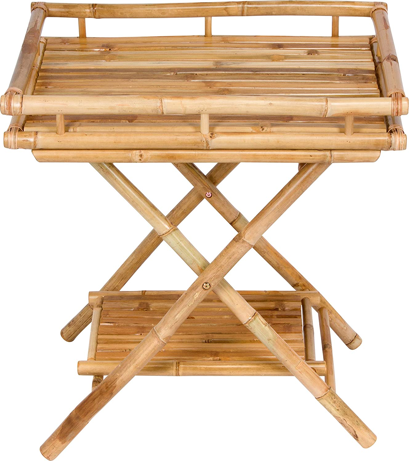 Statra Large special price !! Bamboo Butler Table With Serving Max 80% OFF Removable Tray Natural