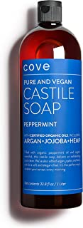 Cove Castile Soap Peppermint - 33.8 oz / 1 Liter - Organic Argan, Hemp, Jojoba Oils