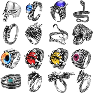 FIBO STEEL 16 Pieces Vintage Punk Rings for Men Women Gothic Rings Silver Black Dragon Snake Claw Skull Octopus Eyes of He...