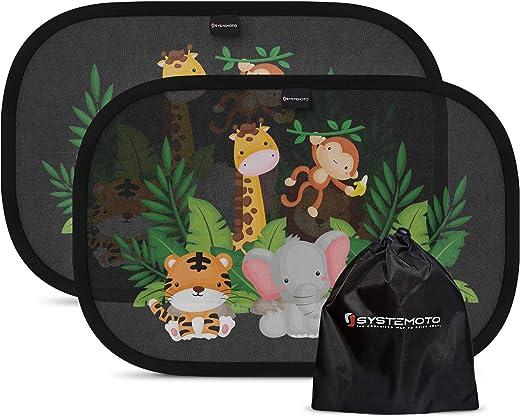 Systemoto Sonnenschutz Auto Baby mit Zertifiziertem UV Schutz (2er Set) – Selbsthaftende Sonnenblenden für Kinder mit süßen Tier Motiven (Wild Life)