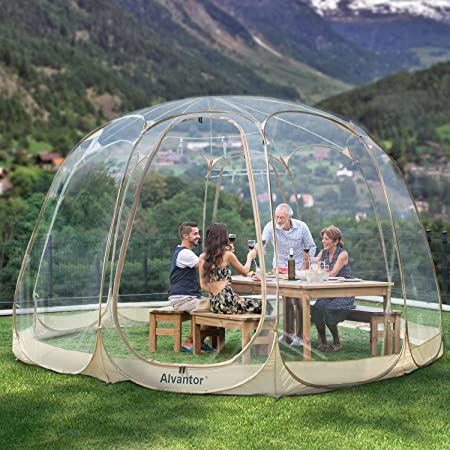 Alvantor Bubble Tent Screen House Room Camping Tent Canopy Gazebos 12-15 Person for Patios, Large Oversize Weather Pod, Premium Greenhouse Instant Pop Up Tent, Cold Protection Beige 15'×15'