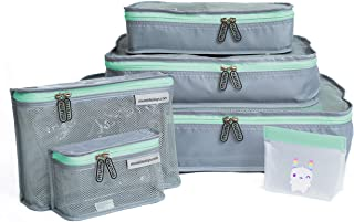 mumi Piccolo Packing Bundle   Set of 3 Packing Cubes, 2 Toiletry Bags, and 1 Reusable Zip Up Bag   Complete Luggage Organi...
