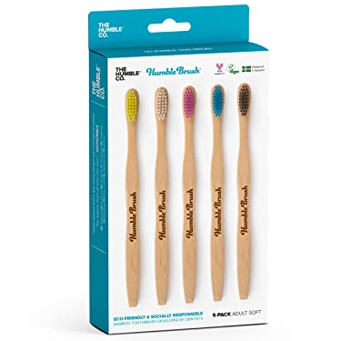 The Humble Co. Bamboo Toothbrush (5pk) - Wooden, Sustainable, Natural Toothbrushes - Vegan, Eco-Friendly and Biodegradable with BPA Free Bristles. for Zero Waste Oral Care (Soft, Adult)