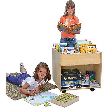 Flexeo 85622 - Bücherregal Buch-Mobil Holz auf Rollen 58,5 x 60 x 60 cm - Kinder-Buchbox Bücher-Box Aufbewahrungsbox