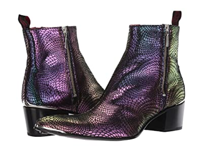 Jeffery-West Sylvian Double Metal Zip Boot (Black/Purple) Men