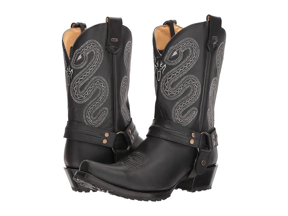Roper Sting (Matte Black Leather w/ Lug Sole) Cowboy Boots