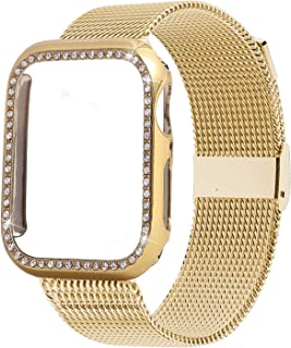 Ruiboo Band Compatible for Apple Watch 38MM 40MM 42MM 44MM with Bling Screen Protector, Women Stainless Steel Mesh Strap with Protective Crystal Diamond Case Compatible for iWatch Series 5/4/3/2/1