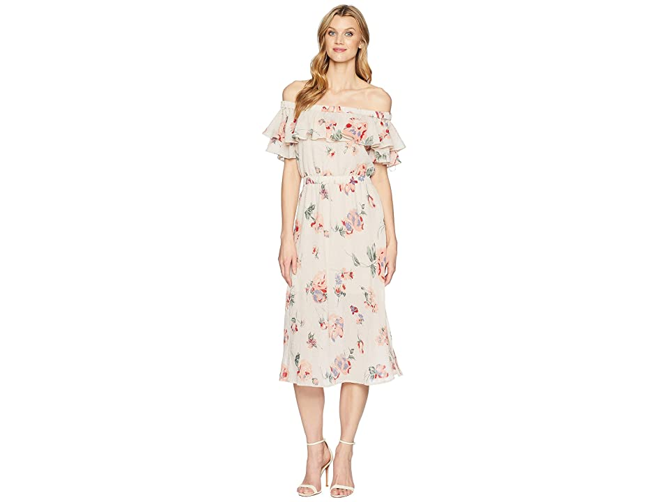 Lucky Brand Off Shoulder Printed Dress (Pink Multi) Women