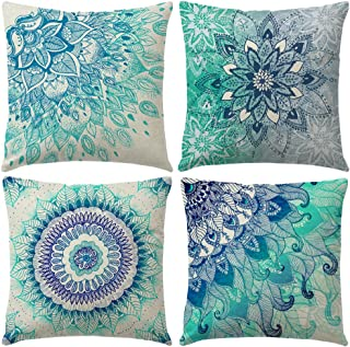 4Pack Bohemian Decorative Throw Pillow Covers Water Color Mandala Pattern Pillowcases Square Home Decorative Floral Cushion Covers 18 x 18 Inch for Sofa Bedroom Car Outdoor Cushions (Blue Mandala)