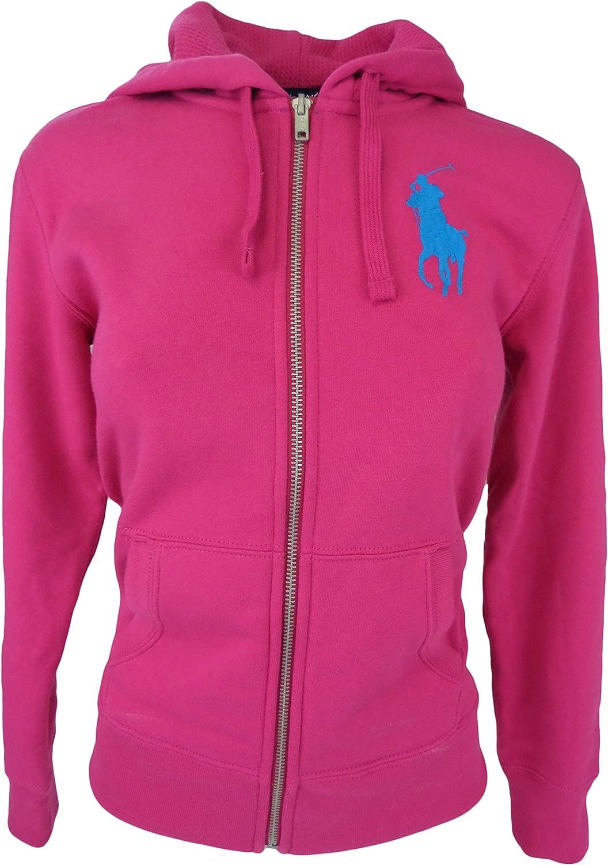 Ralph Lauren Women FullZip Big Pony Logo Hoodie (L, Active Pink)