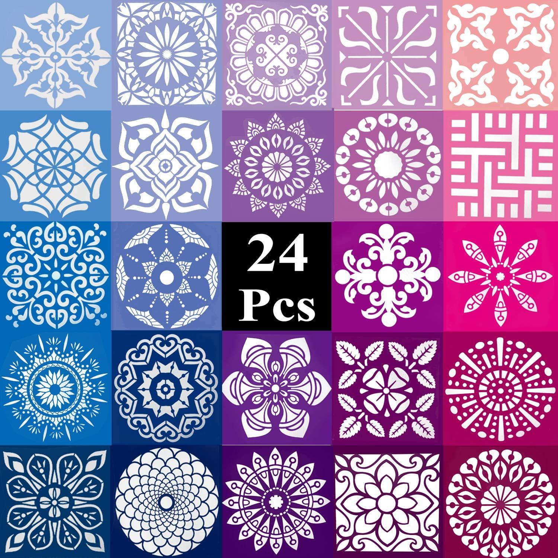 Houston Mall Winfoo 24PCS Mandala Stencil Set In Stencils Large-scale sale 5.1 x