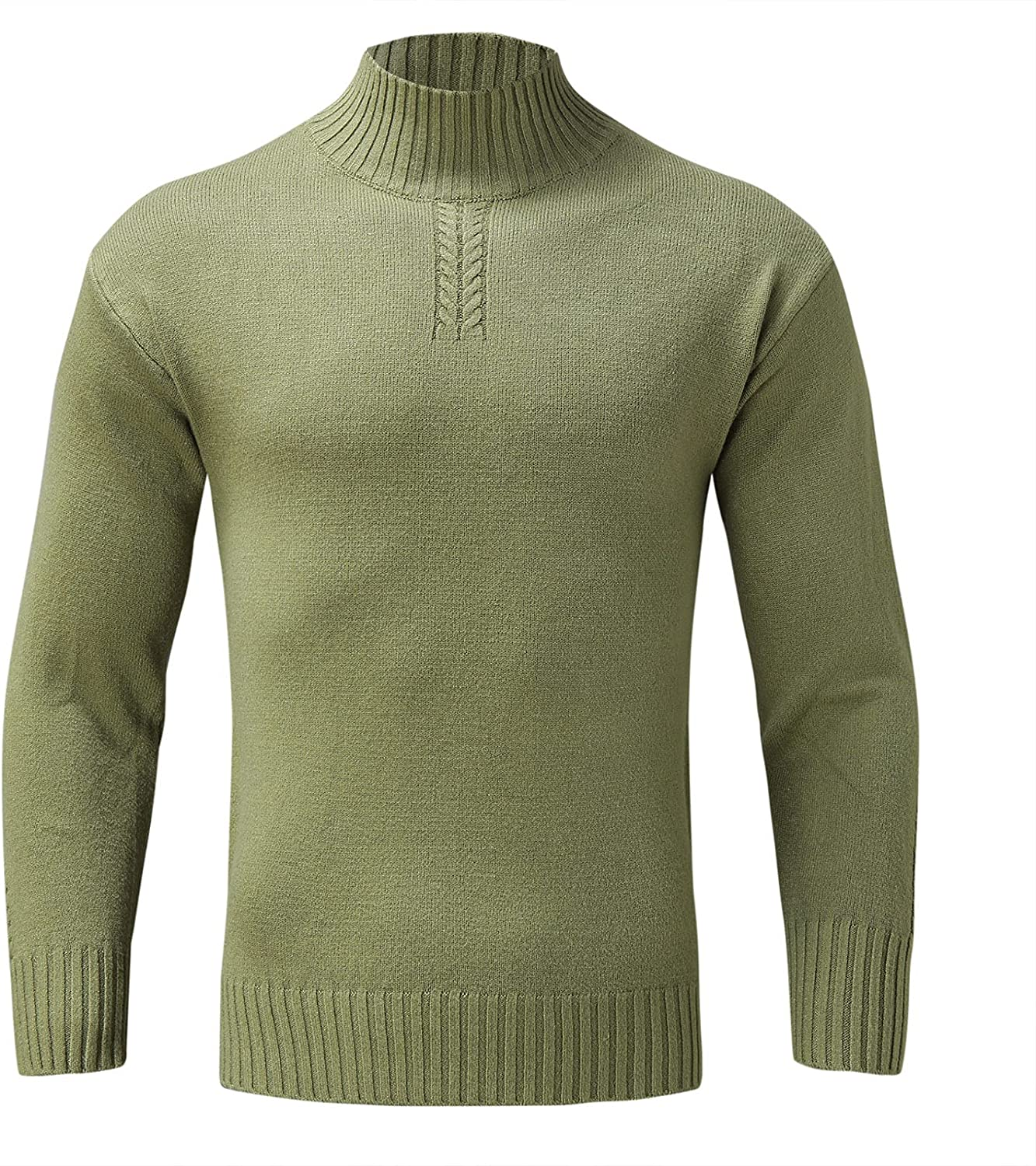 Men's Sweater Pullover Autumn Winter Solid Color Long Sleeve High Neck Slim Top Fashion Casual Winter Oversize 2021