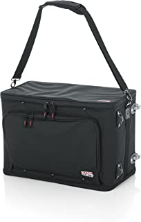 Gator Cases Lightweight Rack Bag with Removable Shoulder Strap, Pull handle, and Wheels; 4U Rack - 12.5
