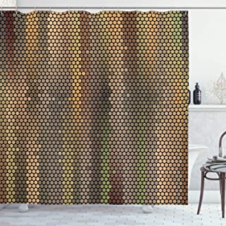 Ambesonne Earth Tones Shower Curtain, Party Entertainment Theme with Iconic Disco Ball Inspired Pattern Dotted Print, Cloth Fabric Bathroom Decor Set with Hooks, 70
