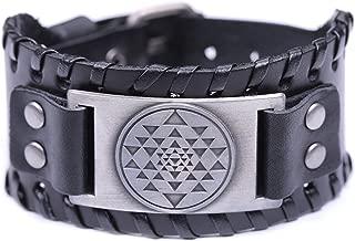 Vintage India Sri Yantra Meditation Mystical Diagram Cuff Talisman Adjustable Bracelet Jewelry