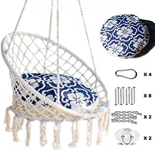Nooksta Hammock Swing Hanging Chair. Macrame Hanging Chair with Included Cushion for Hammock, and Hanging Kit for Hammock Stand, Tree Hammock Swing. Indoor Hanging Chair (Moroccan Blue Cushion)