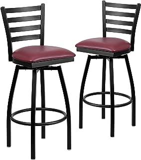 Flash Furniture 2 Pk. HERCULES Series Black Ladder Back Swivel Metal Barstool - Burgundy Vinyl Seat