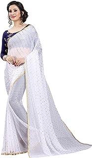 PerfectBlue Chiffon  Saree with Blouse Piece