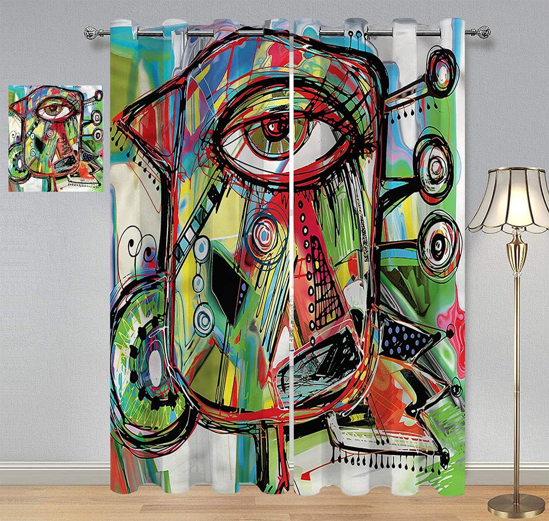 Abstract Large special price !! Light Blocking Curtains Bird Character Now free shipping Eyes Doodle