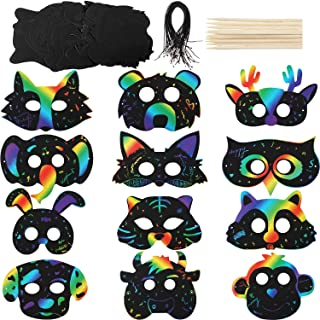 Honoson 36 Sets Scratch Paper Animal Masks Scratch Rainbow Masks with Elastic Cords and Wood Stylus for Costume Dress up Parties Decorations
