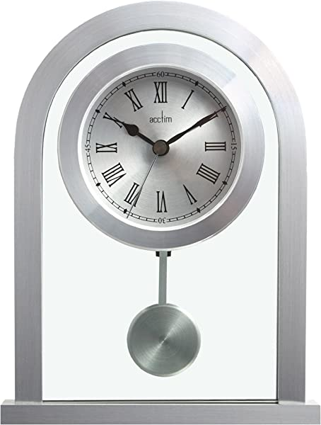 Acctim 200 X 165 X 50 Mm Bathgate Glass Pendulum Mantel Clock Silver
