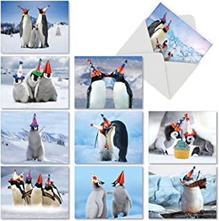 Penguins and Greetings - 10 Happy Birthday Note Cards with Envelopes (4 x 5.12 Inch) - Cute Arctic Penguin Family in Bday Hats, Assorted Boxed Notecard Set for Birthdays, Kids AM2951BDG-B1x10