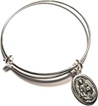 PersonalizedJewelryGifts Saint Catherine of Siena Bracelet for Women and Girls Silver Adjustable Bangle Charm Pendant Jewelry Patron Saint of Nurses and Miscarriages