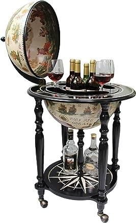 Sixteenth-Century Italian Replica Old World Map Parchment Globe Bar Wine Holder 4 Legs in Black Ivory Finish