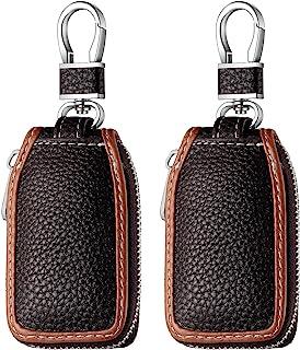 کیف محافظ زنجیره ای چرمی 2 تکه چرم اتومبیل روکش محافظ هوشمند کلید فوب