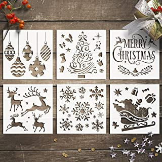 GSS Designs Christmas Stencils Template Pack of 6 -Merry Christmas,Santa Claus,Christmas Tree,Snowflakes,Bulbs,Reindeers for Christmas Decoration 6X6 inch DIY Craft Template Cookie Stencils