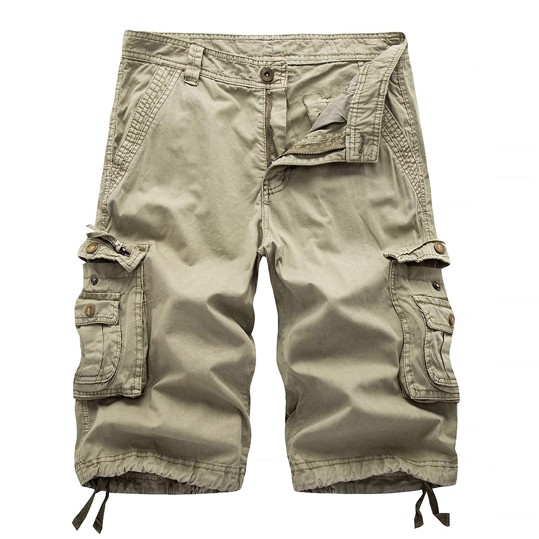 Men Casual Quick Dry Shorts,Lightweight Cargo Multi Pockets Short Pants Camping Travel Shorts (42,Khaki)